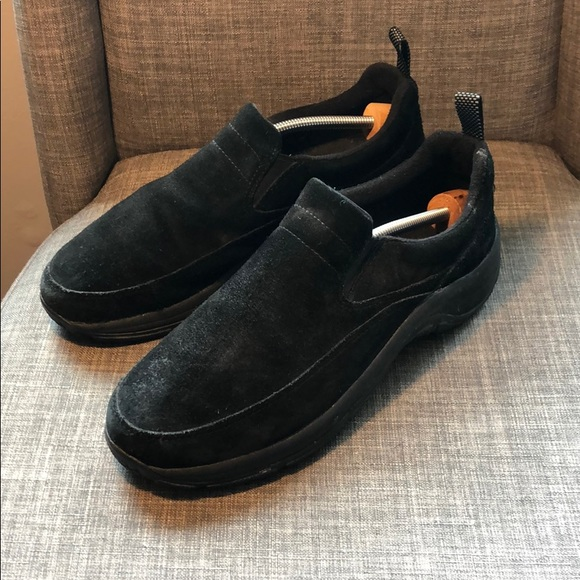 L.L. Bean Comfort Mocs Suede Shoes Size 8.5 Black